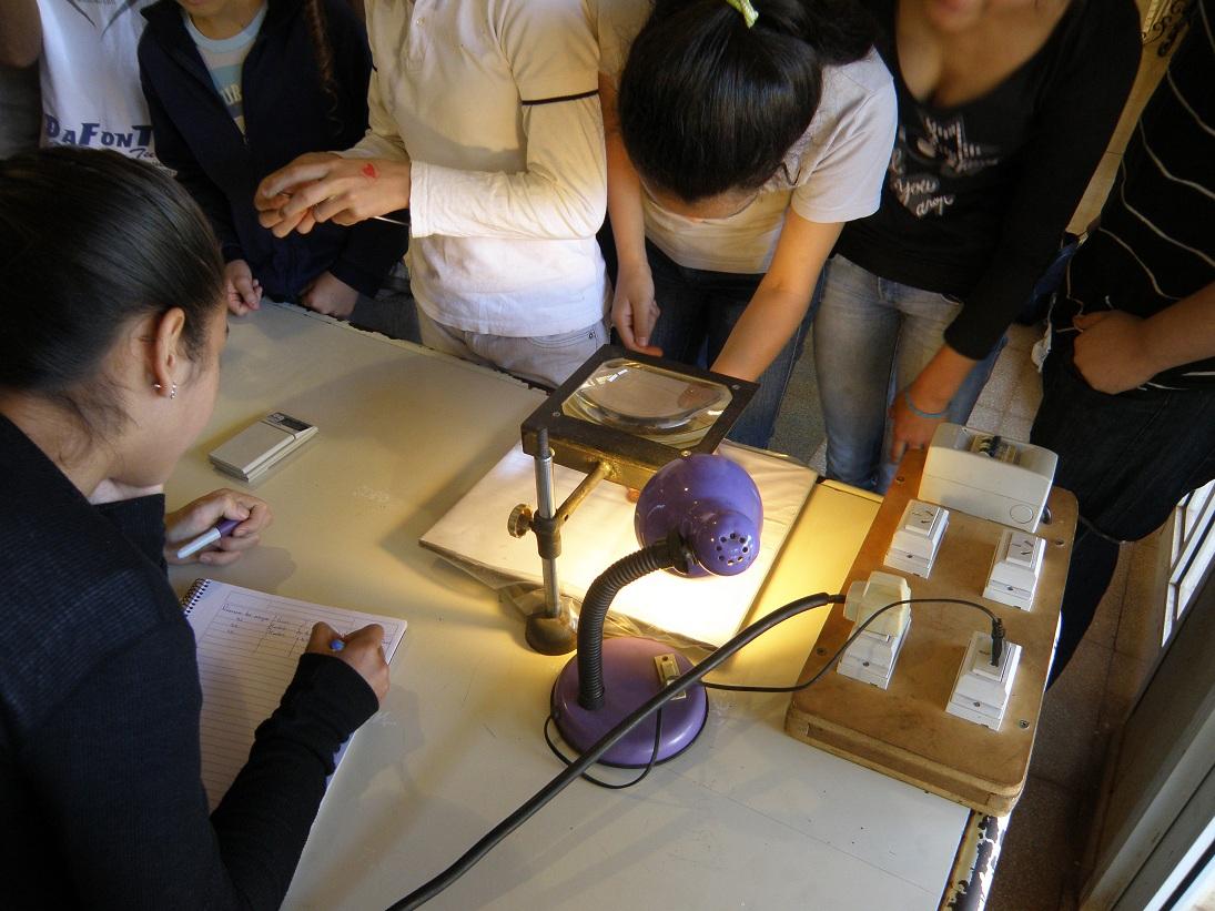 Alumnos de la Escuela observan la moneda