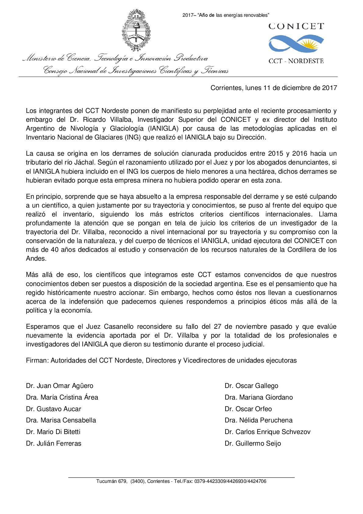 Comunicado CCT Nordeste en apoyo a Villalba-001